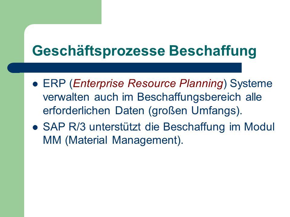 Geschäftsprozesse Beschaffung ERP (Enterprise Resource Planning) Systeme verwalten auch im Beschaffungsbereich alle erforderlichen Daten (großen Umfan