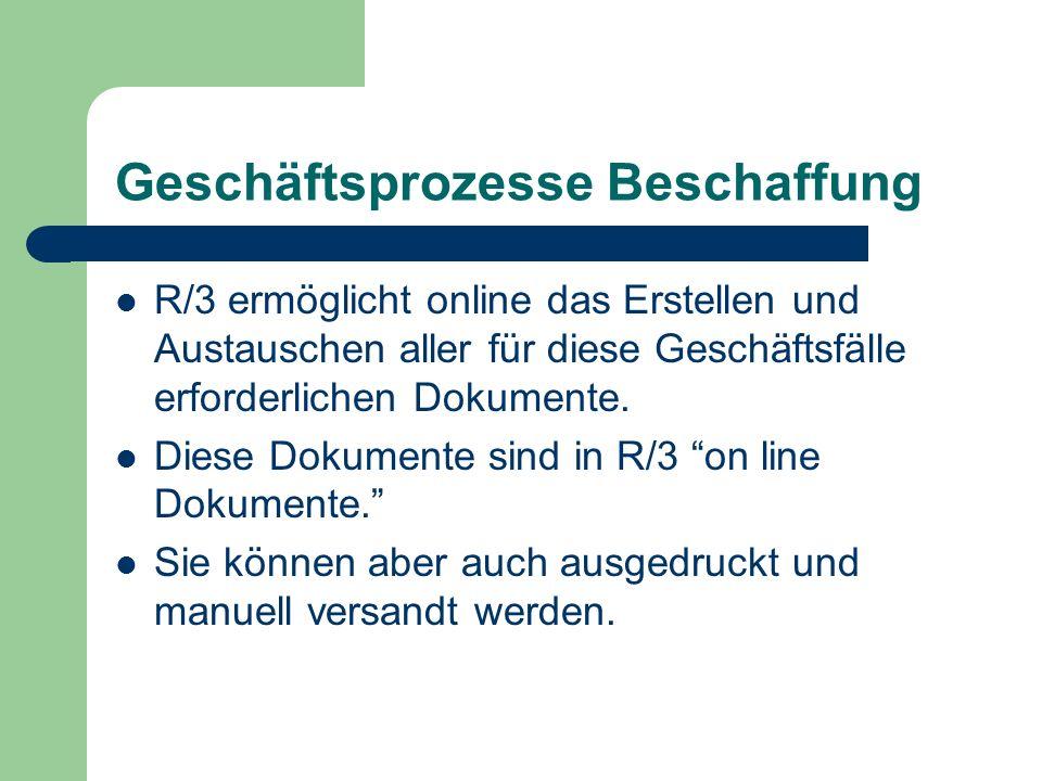 Geschäftsprozesse Beschaffung R/3 ermöglicht online das Erstellen und Austauschen aller für diese Geschäftsfälle erforderlichen Dokumente. Diese Dokum