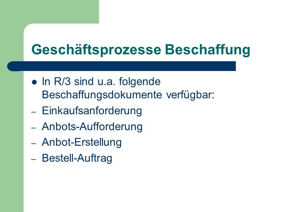 Geschäftsprozesse Beschaffung In R/3 sind u.a. folgende Beschaffungsdokumente verfügbar: – Einkaufsanforderung – Anbots-Aufforderung – Anbot-Erstellun
