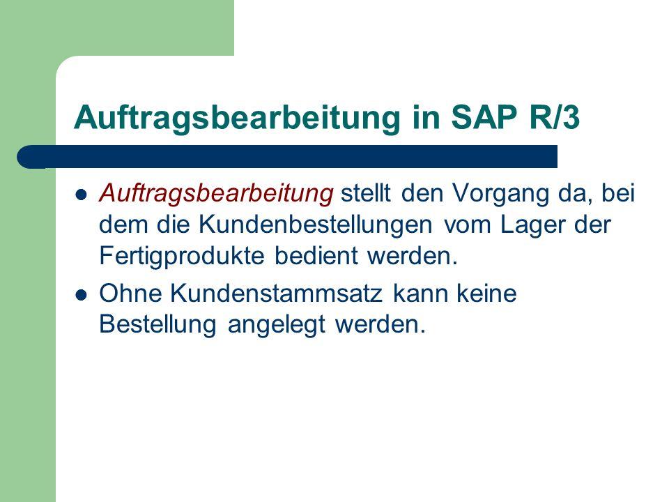 Auftragsbearbeitung in SAP R/3 Auftragsbearbeitung stellt den Vorgang da, bei dem die Kundenbestellungen vom Lager der Fertigprodukte bedient werden.