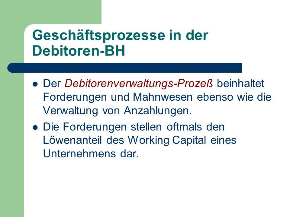 Geschäftsprozesse in der Debitoren-BH Der Debitorenverwaltungs-Prozeß beinhaltet Forderungen und Mahnwesen ebenso wie die Verwaltung von Anzahlungen.