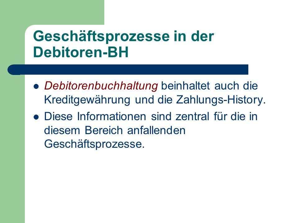 Geschäftsprozesse in der Debitoren-BH Debitorenbuchhaltung beinhaltet auch die Kreditgewährung und die Zahlungs-History.