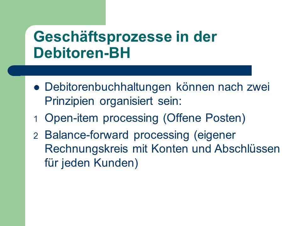 Geschäftsprozesse in der Debitoren-BH Debitorenbuchhaltungen können nach zwei Prinzipien organisiert sein: 1 Open-item processing (Offene Posten) 2 Balance-forward processing (eigener Rechnungskreis mit Konten und Abschlüssen für jeden Kunden)