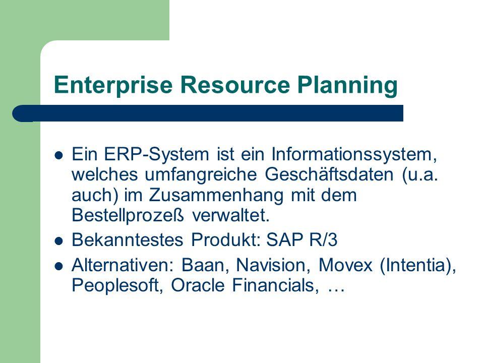 Enterprise Resource Planning Ein ERP-System ist ein Informationssystem, welches umfangreiche Geschäftsdaten (u.a. auch) im Zusammenhang mit dem Bestel