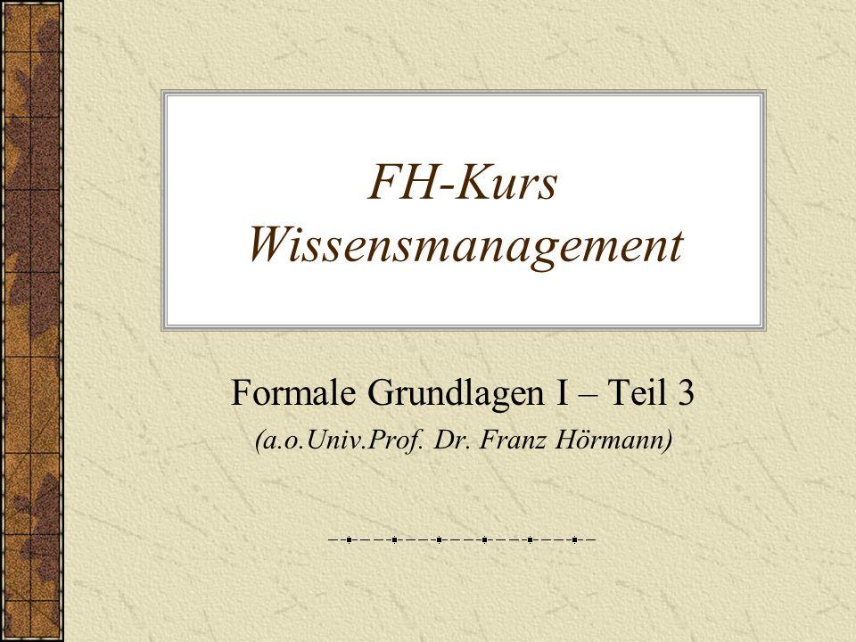 FH-Kurs Wissensmanagement Formale Grundlagen I – Teil 3 (a.o.Univ.Prof. Dr. Franz Hörmann)