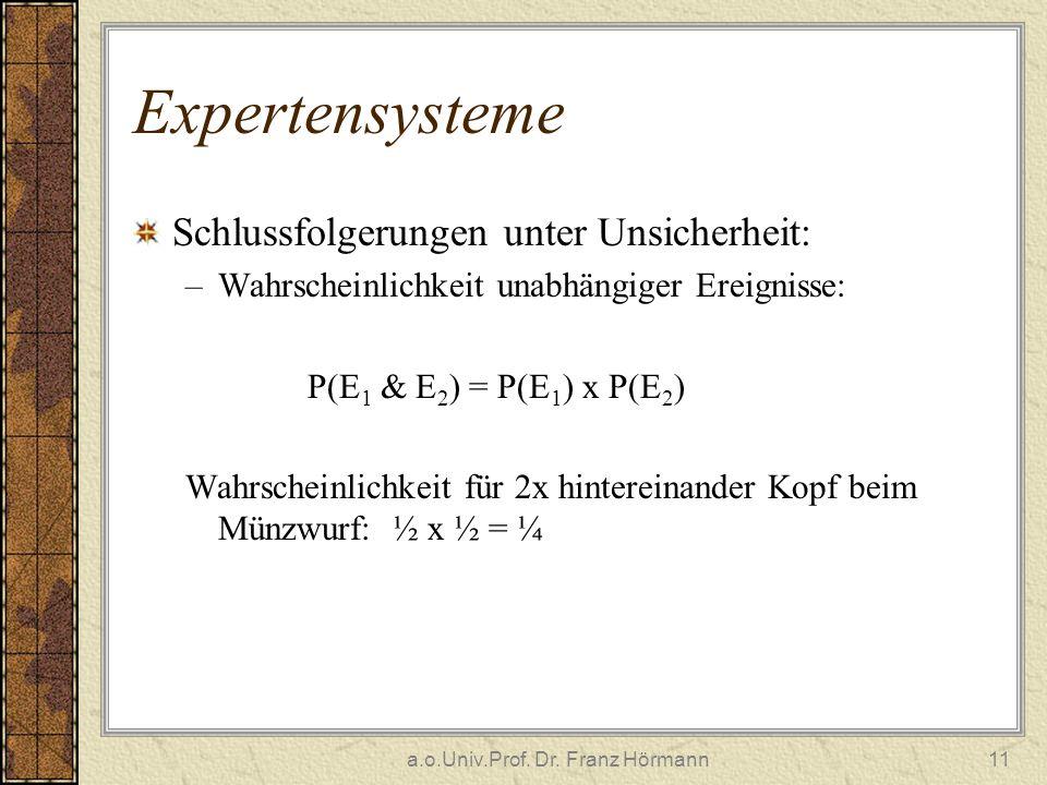 a.o.Univ.Prof. Dr. Franz Hörmann11 Expertensysteme Schlussfolgerungen unter Unsicherheit: –Wahrscheinlichkeit unabhängiger Ereignisse: P(E 1 & E 2 ) =