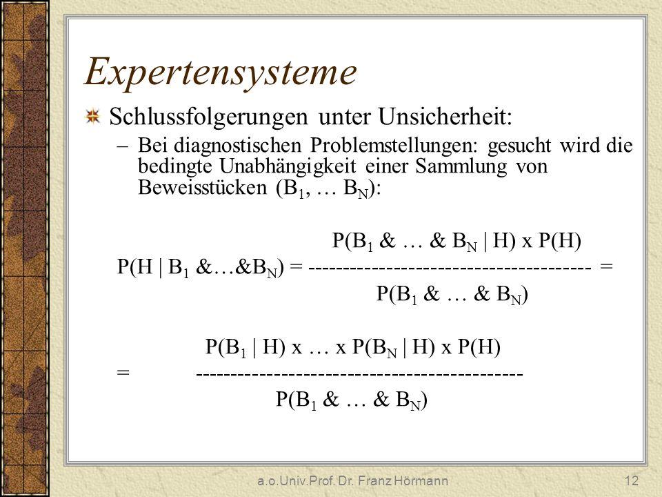 a.o.Univ.Prof. Dr. Franz Hörmann12 Expertensysteme Schlussfolgerungen unter Unsicherheit: –Bei diagnostischen Problemstellungen: gesucht wird die bedi