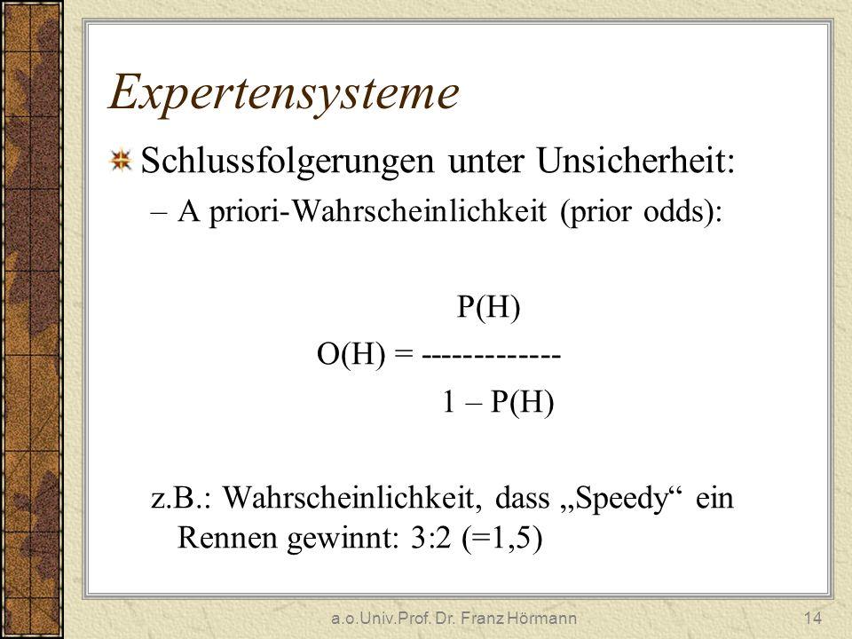 a.o.Univ.Prof. Dr. Franz Hörmann14 Expertensysteme Schlussfolgerungen unter Unsicherheit: –A priori-Wahrscheinlichkeit (prior odds): P(H) O(H) = -----
