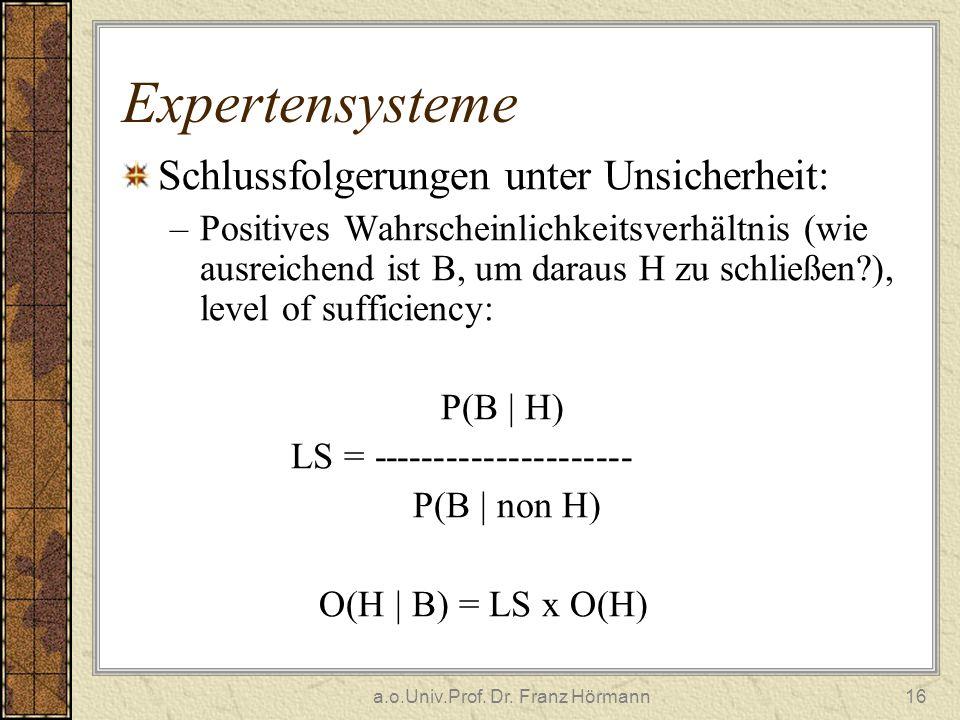 a.o.Univ.Prof. Dr. Franz Hörmann16 Expertensysteme Schlussfolgerungen unter Unsicherheit: –Positives Wahrscheinlichkeitsverhältnis (wie ausreichend is