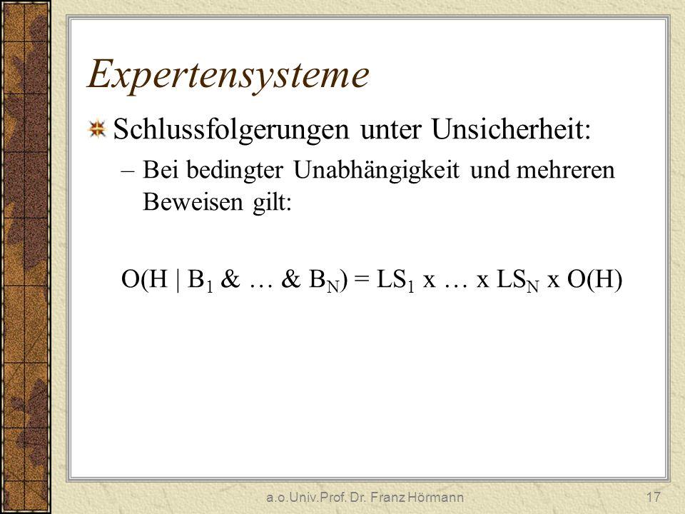 a.o.Univ.Prof. Dr. Franz Hörmann17 Expertensysteme Schlussfolgerungen unter Unsicherheit: –Bei bedingter Unabhängigkeit und mehreren Beweisen gilt: O(