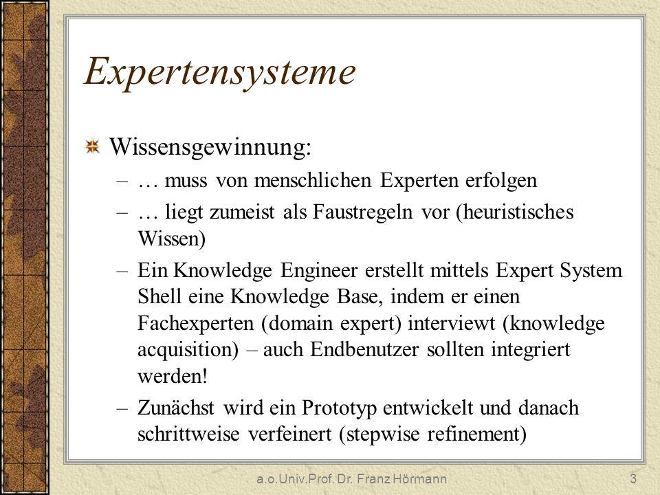 a.o.Univ.Prof. Dr. Franz Hörmann3 Expertensysteme Wissensgewinnung: –… muss von menschlichen Experten erfolgen –… liegt zumeist als Faustregeln vor (h