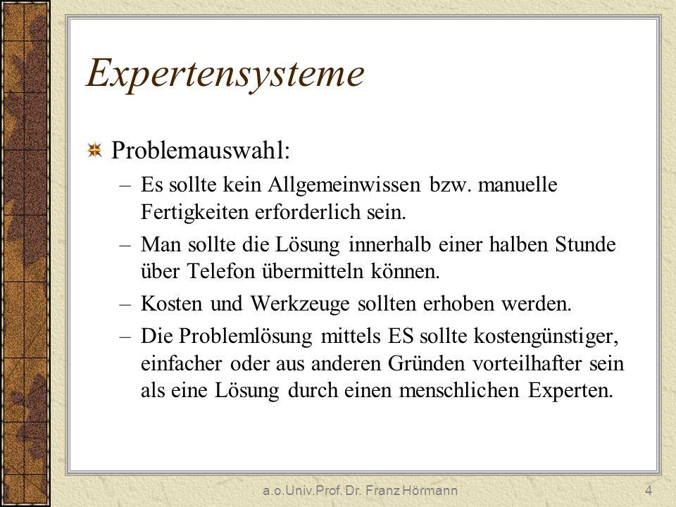 a.o.Univ.Prof. Dr. Franz Hörmann4 Expertensysteme Problemauswahl: –Es sollte kein Allgemeinwissen bzw. manuelle Fertigkeiten erforderlich sein. –Man s