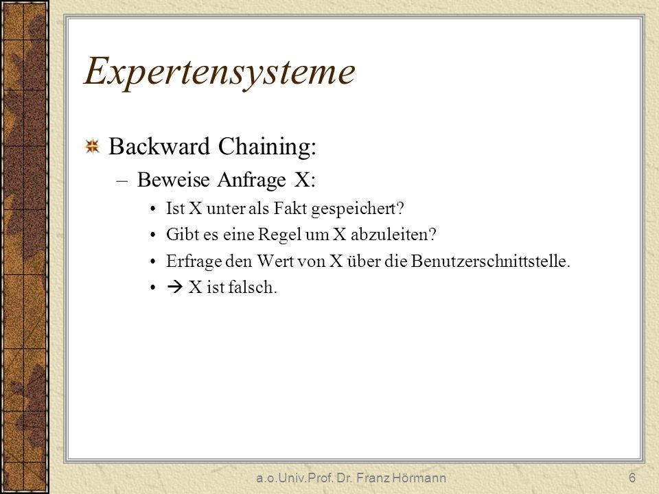 a.o.Univ.Prof. Dr. Franz Hörmann6 Expertensysteme Backward Chaining: –Beweise Anfrage X: Ist X unter als Fakt gespeichert? Gibt es eine Regel um X abz
