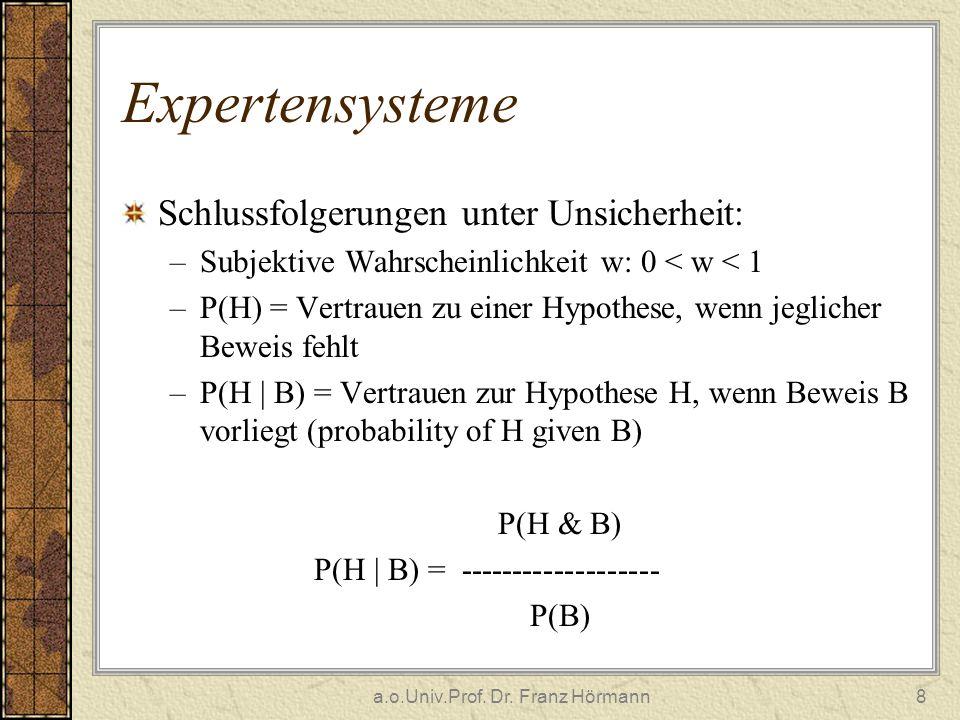 a.o.Univ.Prof. Dr. Franz Hörmann8 Expertensysteme Schlussfolgerungen unter Unsicherheit: –Subjektive Wahrscheinlichkeit w: 0 < w < 1 –P(H) = Vertrauen