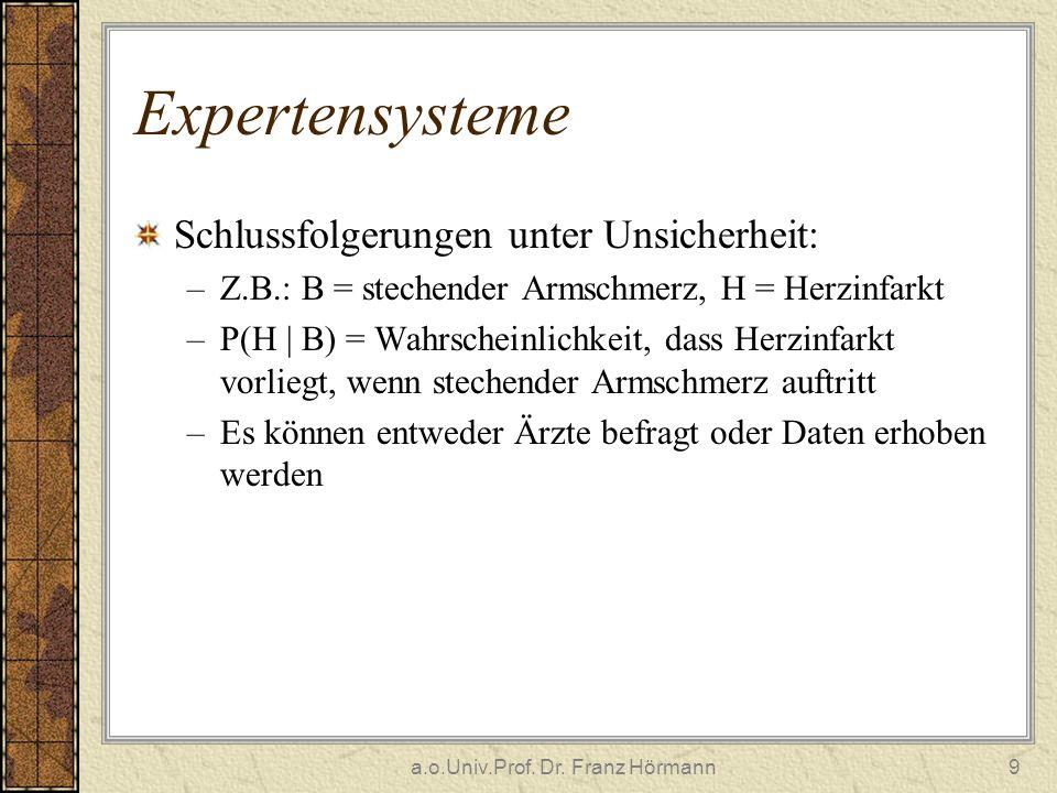 a.o.Univ.Prof. Dr. Franz Hörmann9 Expertensysteme Schlussfolgerungen unter Unsicherheit: –Z.B.: B = stechender Armschmerz, H = Herzinfarkt –P(H | B) =