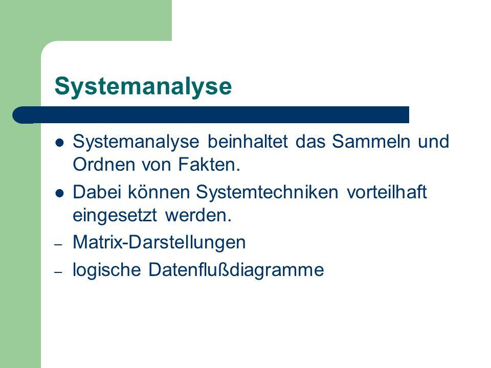 Systemanalyse Systemanalyse beinhaltet das Sammeln und Ordnen von Fakten. Dabei können Systemtechniken vorteilhaft eingesetzt werden. – Matrix-Darstel
