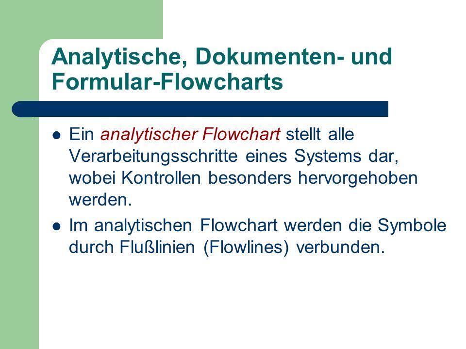 Analytische, Dokumenten- und Formular-Flowcharts Ein analytischer Flowchart stellt alle Verarbeitungsschritte eines Systems dar, wobei Kontrollen beso
