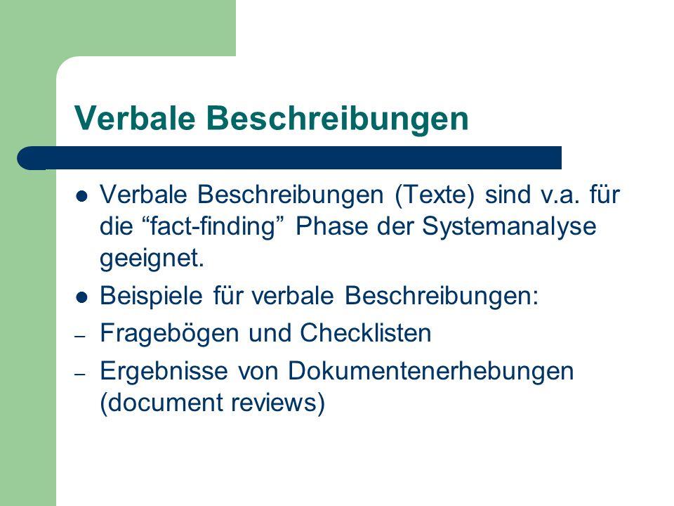 Verbale Beschreibungen Verbale Beschreibungen (Texte) sind v.a. für die fact-finding Phase der Systemanalyse geeignet. Beispiele für verbale Beschreib