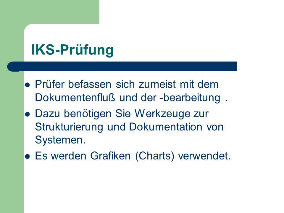IKS-Prüfung Prüfer befassen sich zumeist mit dem Dokumentenfluß und der -bearbeitung. Dazu benötigen Sie Werkzeuge zur Strukturierung und Dokumentatio