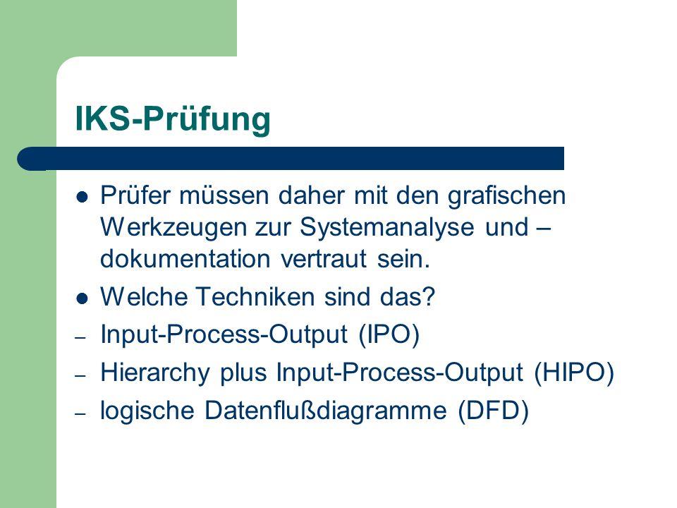 IKS-Prüfung Prüfer müssen daher mit den grafischen Werkzeugen zur Systemanalyse und – dokumentation vertraut sein. Welche Techniken sind das? – Input-