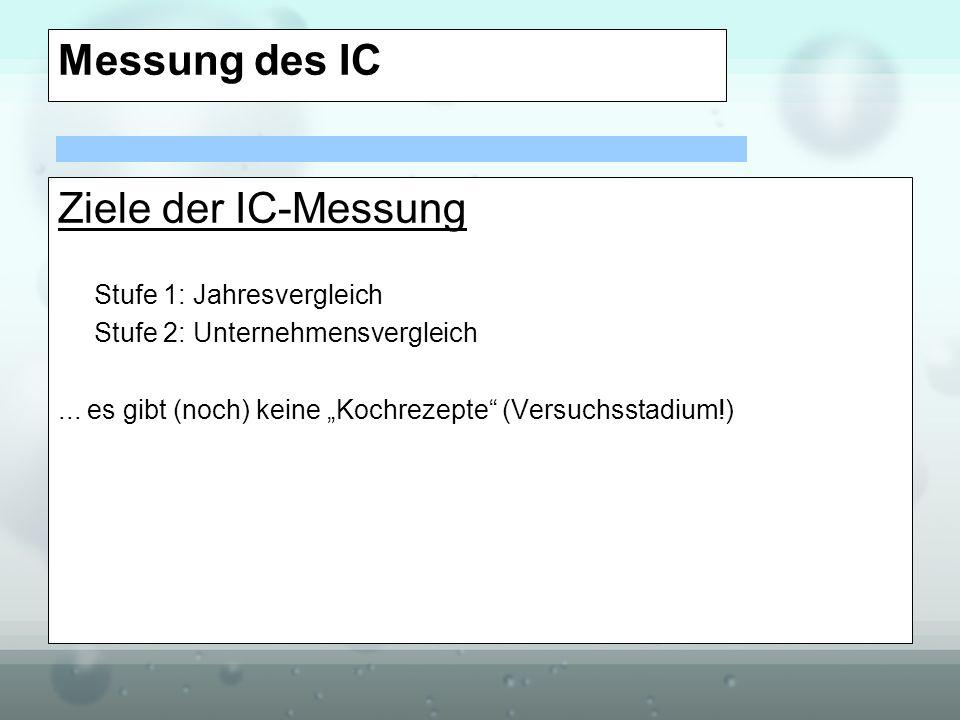 Messung des IC Ziele der IC-Messung Stufe 1: Jahresvergleich Stufe 2: Unternehmensvergleich... es gibt (noch) keine Kochrezepte (Versuchsstadium!)