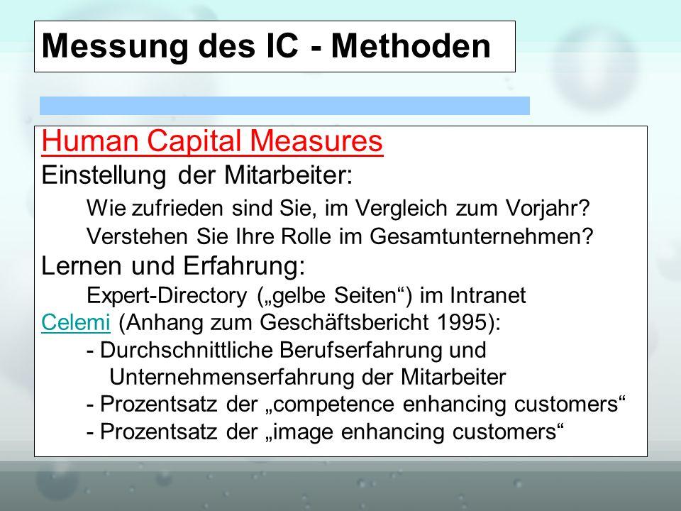 Messung des IC - Methoden Human Capital Measures Einstellung der Mitarbeiter: Wie zufrieden sind Sie, im Vergleich zum Vorjahr? Verstehen Sie Ihre Rol