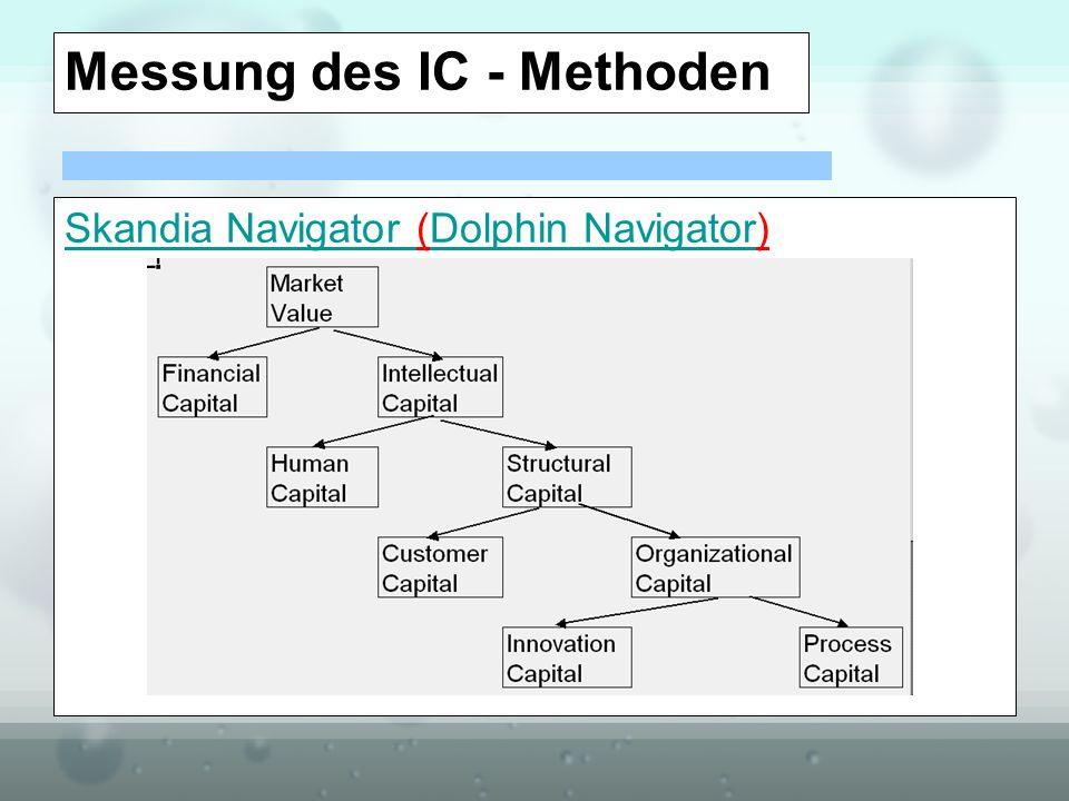 Messung des IC - Methoden Skandia Navigator Skandia Navigator (Dolphin Navigator)Dolphin Navigator