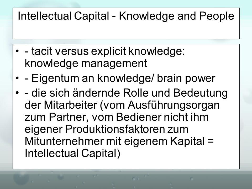 Intellectual Capital - Knowledge and People - tacit versus explicit knowledge: knowledge management - Eigentum an knowledge/ brain power - die sich än