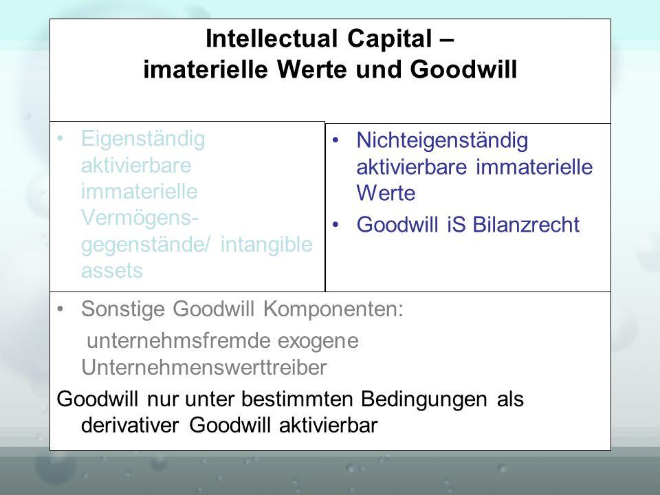 Intellectual Capital – imaterielle Werte und Goodwill Eigenständig aktivierbare immaterielle Vermögens- gegenstände/ intangible assets HGB versus IFRS