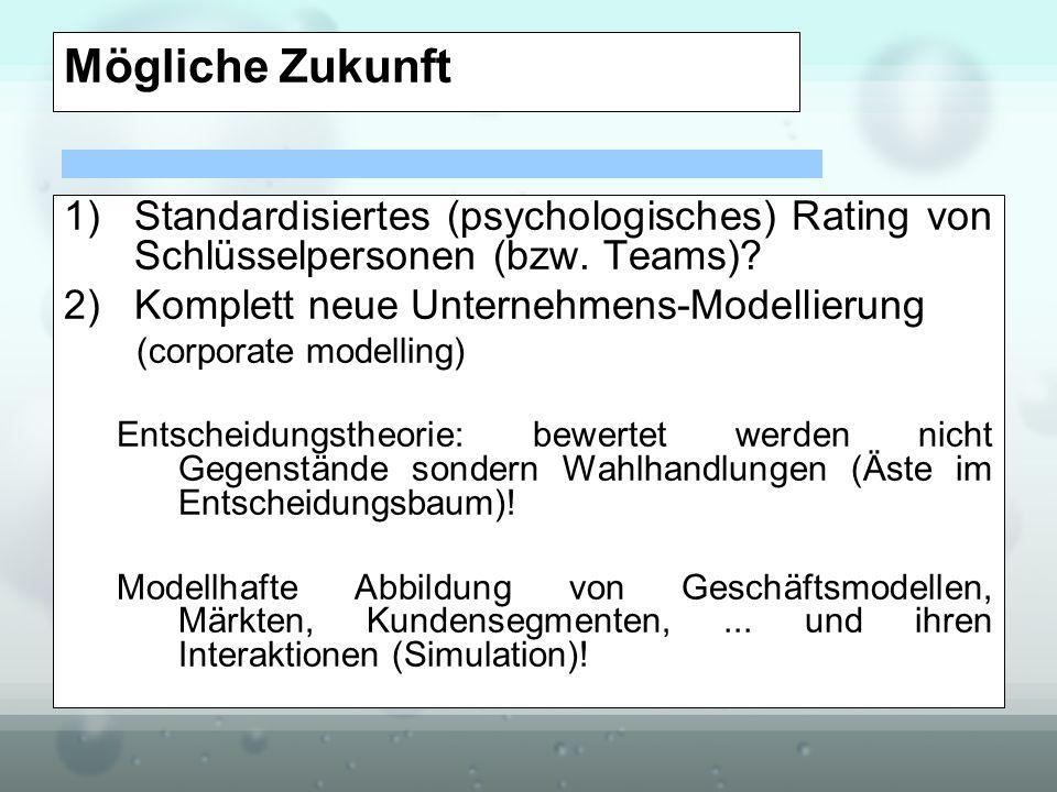 Mögliche Zukunft 1)Standardisiertes (psychologisches) Rating von Schlüsselpersonen (bzw. Teams)? 2)Komplett neue Unternehmens-Modellierung (corporate