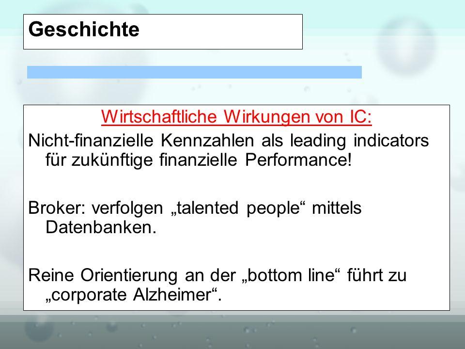 Geschichte Wirtschaftliche Wirkungen von IC: Nicht-finanzielle Kennzahlen als leading indicators für zukünftige finanzielle Performance! Broker: verfo