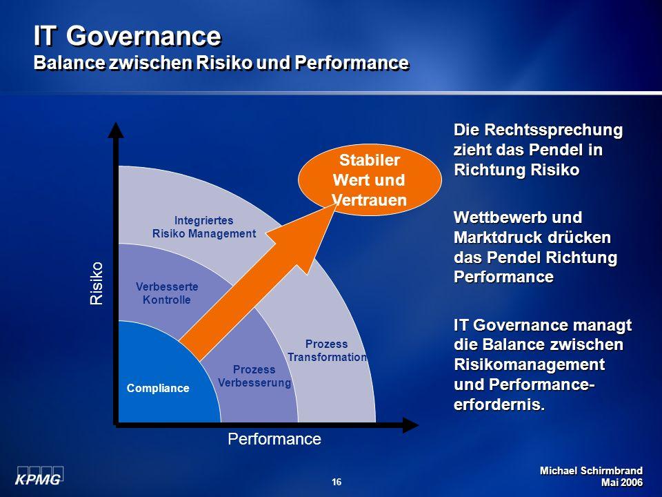 Michael Schirmbrand Mai 2006 16 Stabiler Wert und Vertrauen IT Governance Balance zwischen Risiko und Performance Prozess Verbesserung Verbesserte Kon