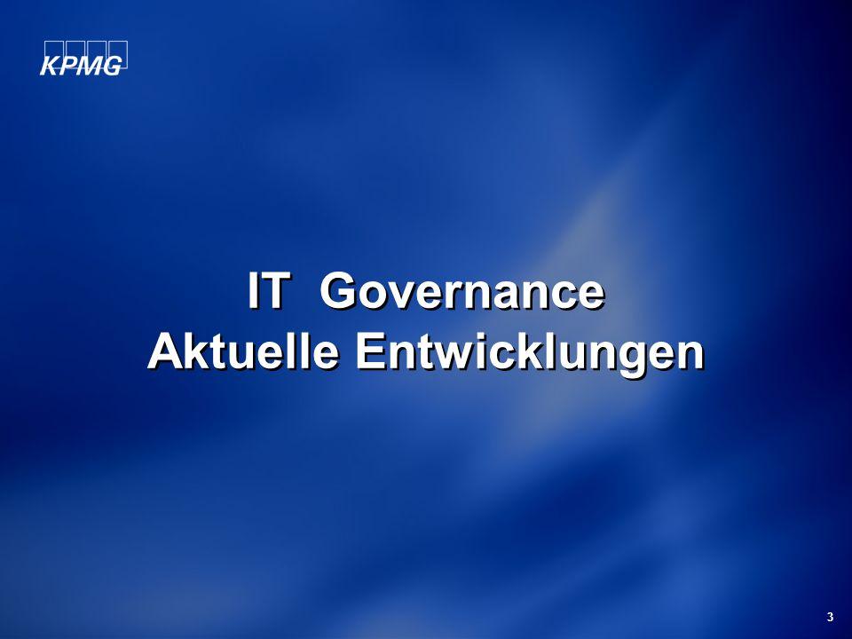 Michael Schirmbrand Mai 2006 4 Beobachtungen in Österreich Mehr als 50% der Unternehmen haben keine IT Strategie 80% der Großunternehmen haben kein nachvollziehbares IT Steuerungsgremium Bei einem Großteil der Unternehmen sind die IT Ziele nicht erkennbar an den Unternehmenszielen ausgerichtet Der Nutzen von (IT) Projekten wird meist nicht gemessen Bei mehr als 50% der Unternehmen sind IT Prozesse nicht dokumentiert oder messbar Bei mehr als 90% der Unternehmen sind Kontrollen in IT Prozessen nicht dokumentiert oder nachvollziehbar