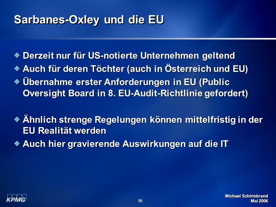Michael Schirmbrand Mai 2006 55 Sarbanes-Oxley und die EU Derzeit nur für US-notierte Unternehmen geltend Auch für deren Töchter (auch in Österreich u