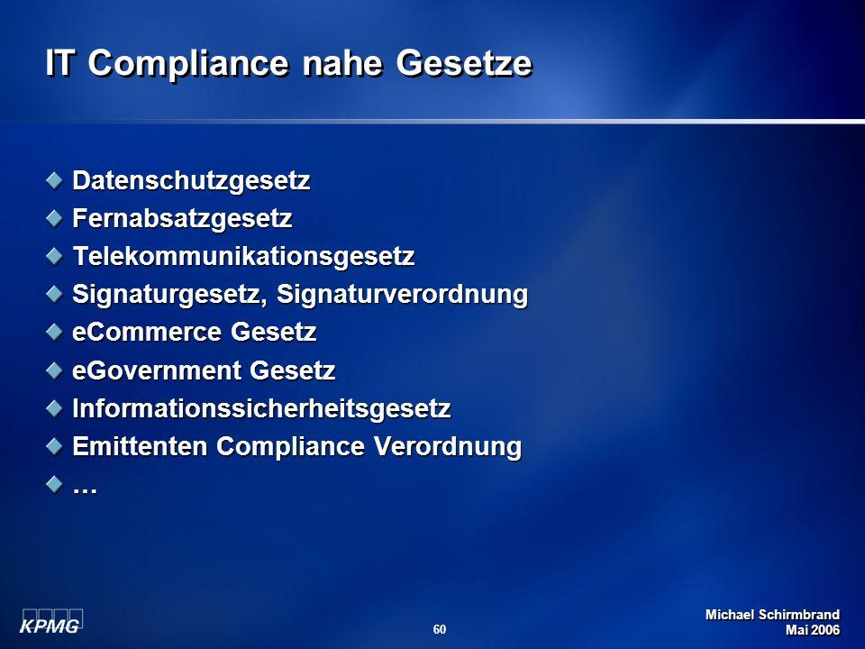 Michael Schirmbrand Mai 2006 60 IT Compliance nahe Gesetze DatenschutzgesetzFernabsatzgesetzTelekommunikationsgesetz Signaturgesetz, Signaturverordnun