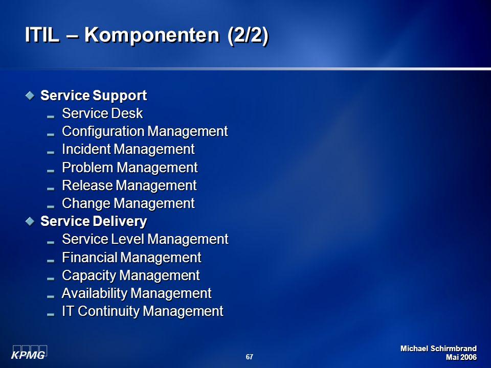 Michael Schirmbrand Mai 2006 67 ITIL – Komponenten (2/2) Service Support Service Desk Configuration Management Incident Management Problem Management