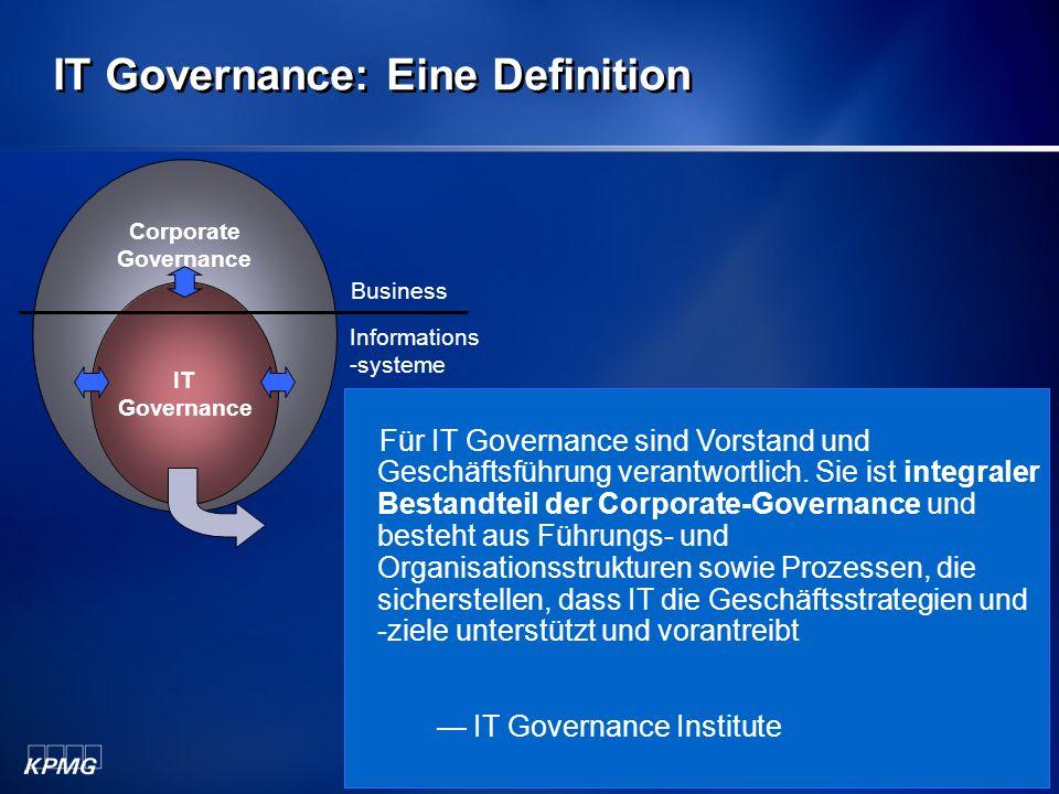 Michael Schirmbrand Mai 2006 8 KPMG IT Governance Survey 2004 – Eingesetzte Verfahren zur IT Governance 14.4% 15.4% 17.4% 33.0% 43.8% 45.6% 55.1% 56.7% 76.6% 0.0%10.0%20.0%30.0%40.0%50.0%60.0%70.0%80.0%90.0% ISO17799 COBIT IT Infrastructure Library Externe Benchmarks Benutzerzufriedenheit Regelmäßig erstellte Berichte an das Top-Management IT Steering Committee Internes Audit Projektcontrolling und -management