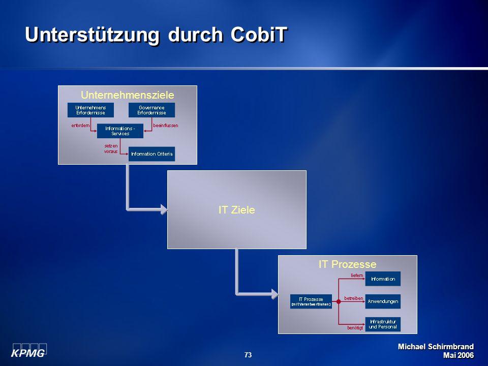 Michael Schirmbrand Mai 2006 73 Unternehmensziele IT Ziele IT Prozesse Unterstützung durch CobiT