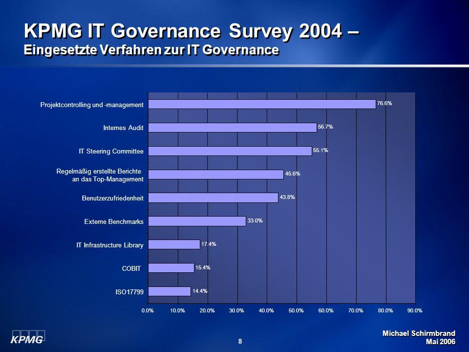 Michael Schirmbrand Mai 2006 9 IT Governance - Status Ergebnisse des IT Governance Survey zeigen, dass IT Governance eingesetzt wird, um … Compliance mit Gesetzen herzustellen (71%) Kosten des Betriebs zu senken (67%) Steuerung zu verbessern (61%) Strategische Wettbewerbsvorteile zu erzielen (41%) 83% sind der Überzeugung, dass die derzeitige IT Governance verbessert werden soll.