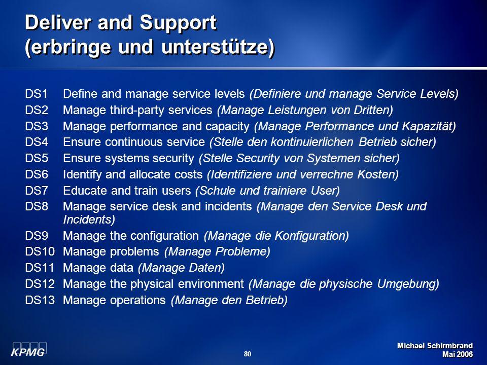 Michael Schirmbrand Mai 2006 80 Deliver and Support (erbringe und unterstütze) DS1 Define and manage service levels (Definiere und manage Service Leve