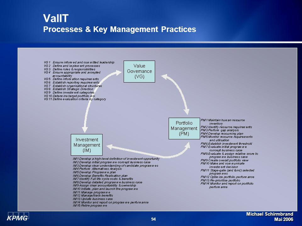 Michael Schirmbrand Mai 2006 94 ValIT Processes & Key Management Practices
