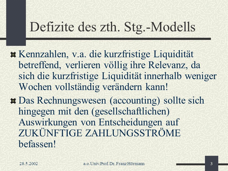 28.5.2002a.o.Univ.Prof.Dr. Franz Hörmann4 Defizite des zth.