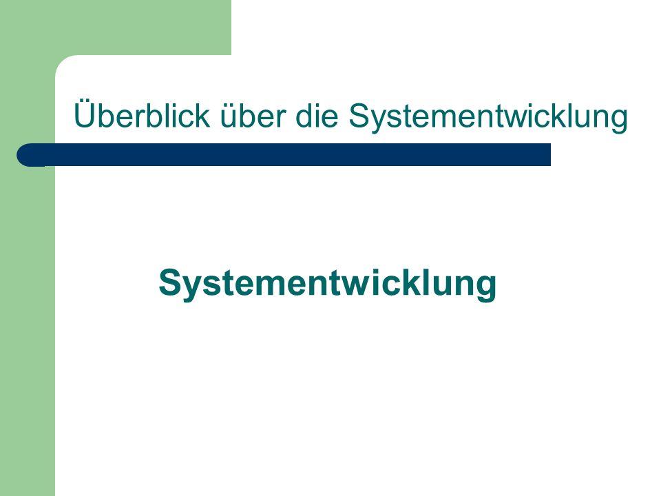 Überblick über die Systementwicklung Systementwicklung