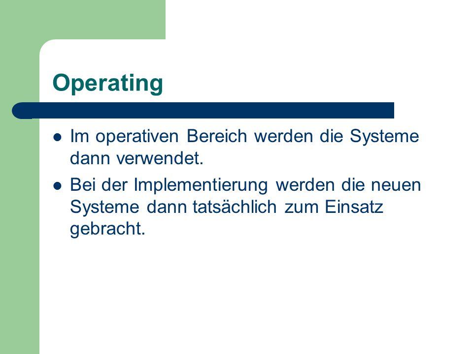 Operating Im operativen Bereich werden die Systeme dann verwendet. Bei der Implementierung werden die neuen Systeme dann tatsächlich zum Einsatz gebra