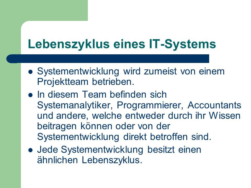Lebenszyklus eines IT-Systems Systementwicklung wird zumeist von einem Projektteam betrieben. In diesem Team befinden sich Systemanalytiker, Programmi