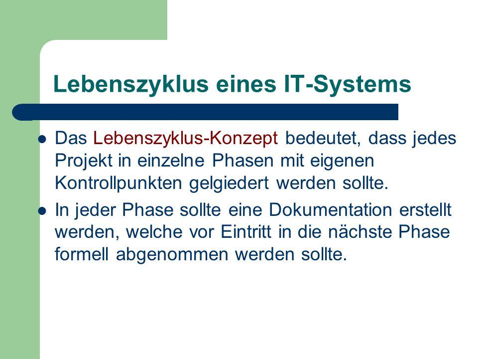 Lebenszyklus eines IT-Systems Das Lebenszyklus-Konzept bedeutet, dass jedes Projekt in einzelne Phasen mit eigenen Kontrollpunkten gelgiedert werden s