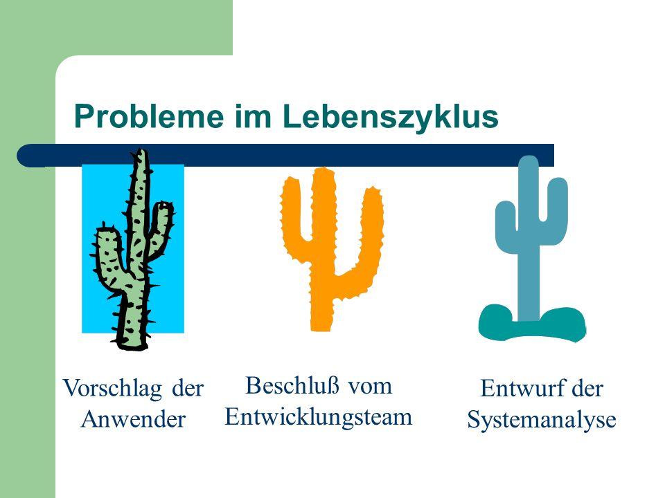 Probleme im Lebenszyklus Vorschlag der Anwender Beschluß vom Entwicklungsteam Entwurf der Systemanalyse