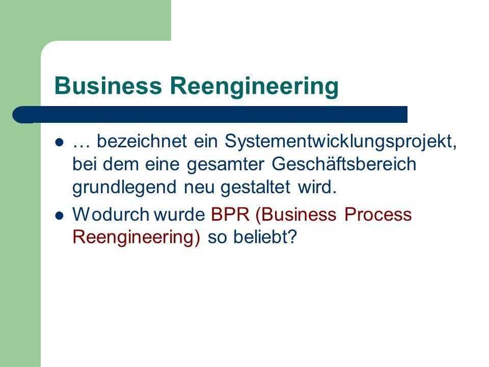 Business Reengineering … bezeichnet ein Systementwicklungsprojekt, bei dem eine gesamter Geschäftsbereich grundlegend neu gestaltet wird. Wodurch wurd