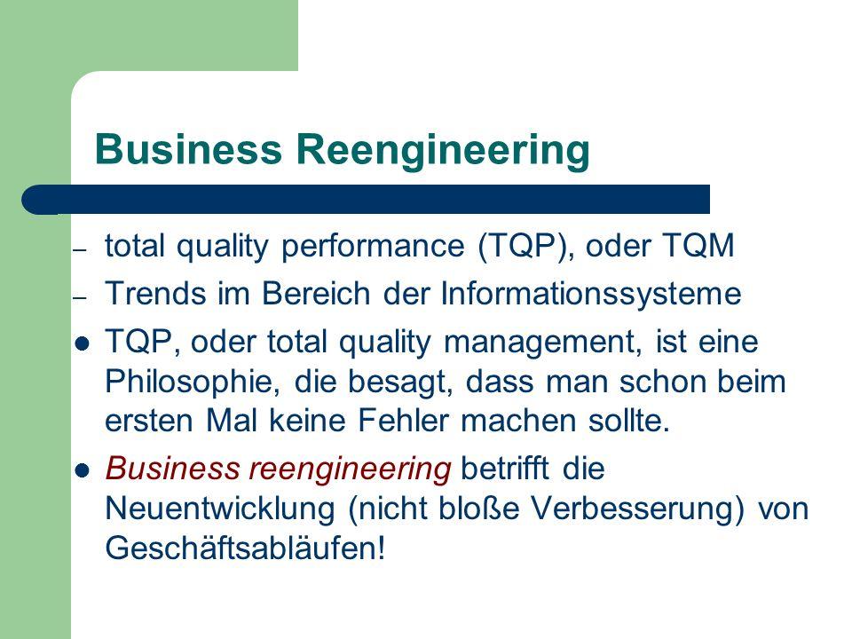 Business Reengineering – total quality performance (TQP), oder TQM – Trends im Bereich der Informationssysteme TQP, oder total quality management, ist