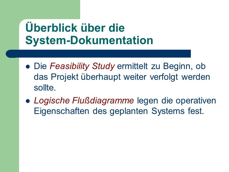 Überblick über die System-Dokumentation Die Feasibility Study ermittelt zu Beginn, ob das Projekt überhaupt weiter verfolgt werden sollte. Logische Fl